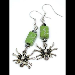Halloween Spider Green and Silver Crackle Earrings